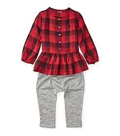 Ralph Lauren® Baby Girls' 2-Piece Plaid Peplum Top and Pants Set