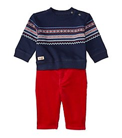 Ralph Lauren® Baby Boy's 2-Piece Fair Isle Shirt and Cord Pants Set