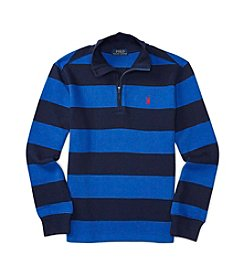 Polo Ralph Lauren® Boys' 8-20 1/4 Zip Striped Waffle Pullover