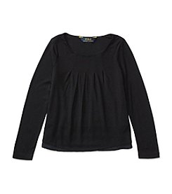 Polo Ralph Lauren® Girls' 2T-6X Long Sleeve Pleated Top