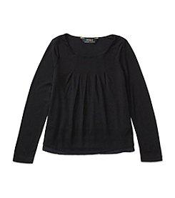 Polo Ralph Lauren® Girls' 2T-6X Long Sleeve Pleated Top