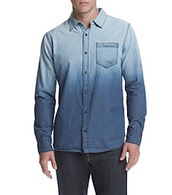 Lazer™ Men's Long Sleeve Chambray Dip Dyed Button Down Shirt