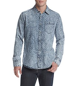 Lazer™ Men's Long Sleeve Chambray Acid Washed Button Down Shirt
