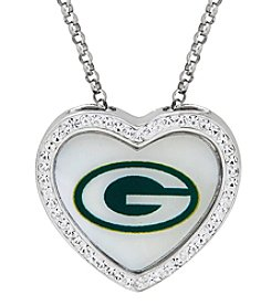NFL® Green Bay Packers Sterling Silver Crystal Accented Heart Pendant