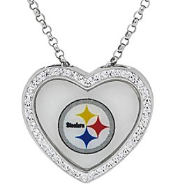 NFL® Pittsburgh Steelers Sterling Silver Crystal Accented Heart Pendant