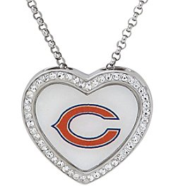 NFL® Chicago Bears Sterling Silver Crystal Accented Heart Pendant