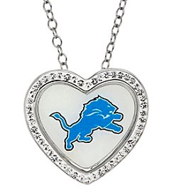 NFL® Detroit Lions Sterling Silver Crystal Accented Heart Pendant Necklace