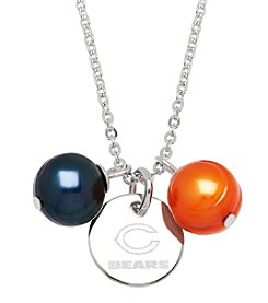 NFL® Chicago Bears Stainless Steel Round Pendant Necklace with Freshwater Pearls