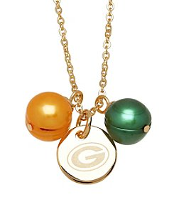 NFL® Green Bay Packers Stainless Steel Round Pendant with Freshwater Pearls
