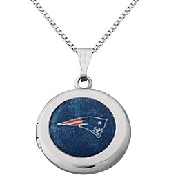 NFL® New England Patriots Sterling Silver Polished Round Locket Necklace