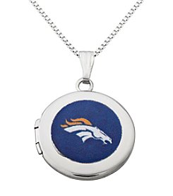 NFL® Denver Broncos Sterling Silver Polished Round Locket Necklace