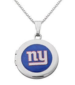 NFL® New York Giants Sterling Silver Polished Round Locket Necklace