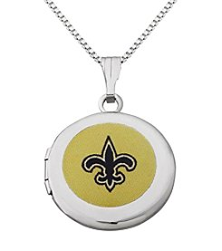 NFL® New Orleans Saints Sterling Silver Polished Round Locket Necklace