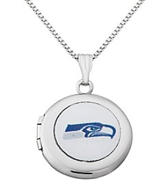 NFL® Seattle Seahawks Sterling Silver Polished Round Locket Necklace