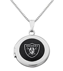NFL® Oakland Raiders Sterling Silver Polished Round Locket Necklace