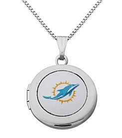 NFL® Miami Dolphins Sterling Silver Polished Round Locket Necklace