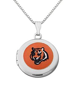 NFL® Cincinnati Bengals Sterling Silver Polished Round Locket Necklace