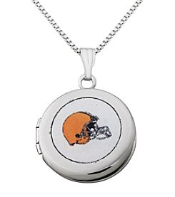 NFL® Cleveland Browns Sterling Silver Polished Round Locket Necklace