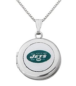 NFL® New York Jets Sterling Silver Polished Round Locket Necklace
