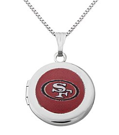 NFL® San Francisco 49ers Sterling Silver Polished Round Locket Necklace