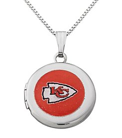 NFL® Kansas City Chiefs Sterling Silver Polished Round Locket Necklace