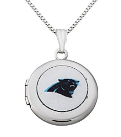 NFL® Carolina Panthers Sterling Silver Polished Round Locket Necklace