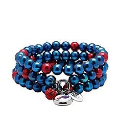 NFL® Baltimore Ravens Freshwater Pearl Stainless Steel Ringed 3 Dangle Charm Bracelet Set
