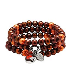 NFL® Cleveland Browns Freshwater Pearl Stainless Steel Ringed 3 Dangle Charm Bracelet Set