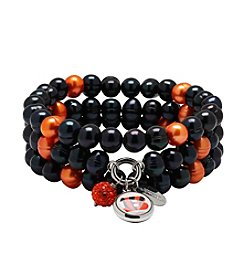 NFL® Cincinnati Bengals Freshwater Pearl Stainless Steel Ringed 3 Dangle Charm Bracelet Set