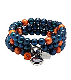NFL® Denver Broncos Freshwater Pearl Stainless Steel Ringed 3 Dangle Charm Bracelet Set