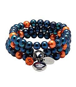 NFL® Denver Broncos Freshwater Pearl Stainless Steel Ringed 3 Dangle Charm Bracelet Set