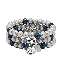 NFL® Dallas Cowboys Freshwater Pearl Stainless Steel Ringed 3 Dangle Charm Bracelet Set