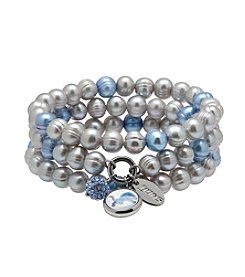 NFL® Detroit Lions Freshwater Pearl Stainless Steel Ringed 3 Dangle Charm Bracelet Set