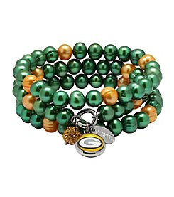 NFL® Green Bay Packers Freshwater Pearl Stainless Steel Ringed 3 Dangle Charm Bracelet Set
