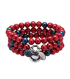 NFL® Houston Texans Freshwater Pearl Stainless Steel Ringed 3 Dangle Charm Bracelet Set