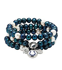 NFL® Indianapolis Colts Freshwater Pearl Stainless Steel Ringed 3 Dangle Charm Bracelet Set