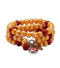 NFL® Kansas City Chiefs Freshwater Pearl Stainless Steel Ringed 3 Dangle Charm Bracelet Set