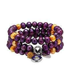 NFL® Minnesota Vikings Freshwater Pearl Stainless Steel Ringed 3 Dangle Charm Bracelet Set