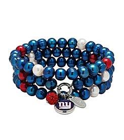 NFL® New York Giants Freshwater Pearl Stainless Steel Ringed 3 Dangle Charm Bracelet Set