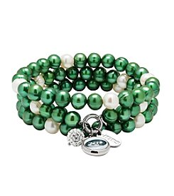 NFL® New York Jets Freshwater Pearl Stainless Steel Ringed 3 Dangle Charm Bracelet Set