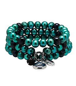 NFL® Philadelphia Eagles Freshwater Pearl Stainless Steel Ringed 3 Dangle Charm Bracelet Set