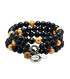 NFL® Pittsburgh Steelers Freshwater Pearl Stainless Steel Ringed 3 Dangle Charm Bracelet Set