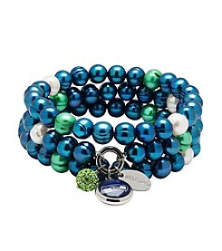 NFL® Seattle Seahawks Freshwater Pearl Stainless Steel Ringed 3 Dangle Charm Bracelet Set
