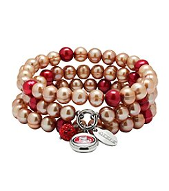 NFL® San Francisco 49ers Freshwater Pearl Stainless Steel Ringed 3 Dangle Charm Bracelet Set
