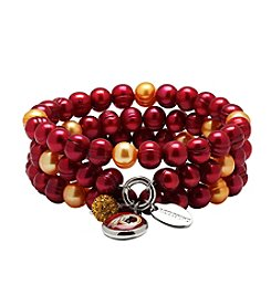 NFL® Washington Redskins Freshwater Pearl Stainless Steel Ringed 3 Dangle Charm Bracelet Set