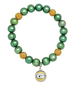 NFL® Green Bay Packers Freshwater Pearl Bracelet with Crystal Accent and Logo Charm