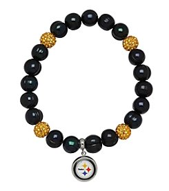 NFL® Pittsburgh Steelers Freshwater Pearl Bracelet with Crystal Accent and Logo Charm