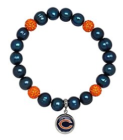 NFL® Chicago Bears Freshwater Pearl Bracelet with Crystal Accent and Logo Charm