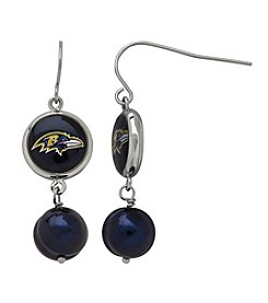 NFL® Baltimore Ravens Freshwater Pearl and Logo Charm Drop Earrings