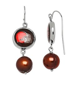 NFL® Cleveland Browns Freshwater Pearl and Logo Charm Drop Earrings